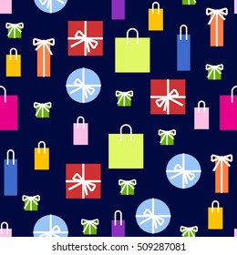 Seamless pattern. Colorful packaging. Handbags, bags and boxes. Vector colorful background. Gift packaging with ribbons. Vector stock.