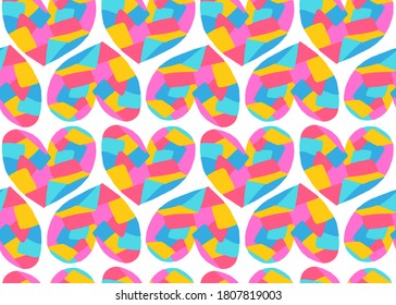 seamless pattern colorful patchwork heart, love relationship wallpaper, white background, flat design vector illustration