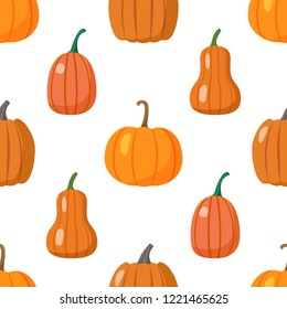 Seamless pattern with colorful pumpkins on white background. Halloween. Thanksgiving Day. Vector illustration.