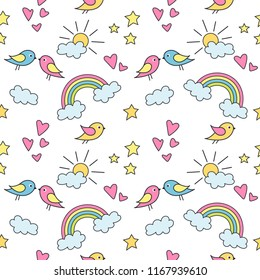 Seamless pattern with colorful  rainbows, stars, hearts and birds