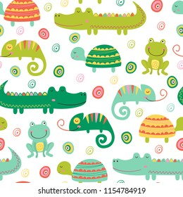 seamless pattern with colorful reptile and amphibian -  vector illustration, eps
