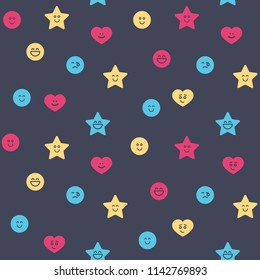 Seamless pattern - colorful shape: circle, heart, star. Smile icons. Abstract background