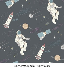 Seamless pattern with colorful space, astronaut, rockets and satellites