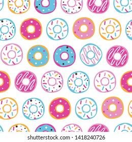 Seamless pattern with colorful sprinkled donuts. Donuts glaze, dessert background. Vector Illustration for holiday designs, party, birthday, invitation.