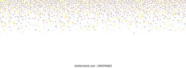 Seamless pattern with colorful sprinkles. Donut glaze background. Vector Illustration for holiday designs, party, birthday, invitation.