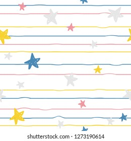 Seamless pattern with colorful stars. Abstract kids print for fabric, apparel. Vector hand drawn illustration.