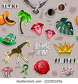 Seamless pattern with Colorful stickers set. Summer holliday and