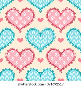 Seamless pattern with colorful stylized hearts. Vector illustration