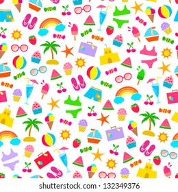 seamless pattern with colorful summer icons (JPEG available in my gallery)