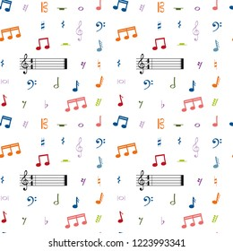 Music Seamless Pattern Background Colorful Notes Stock Vector