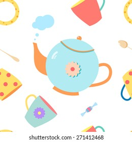 seamless pattern with colorful  teapot vector