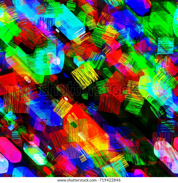 Seamless Pattern Colorful Texture Geometric Elements | Backgrounds ...