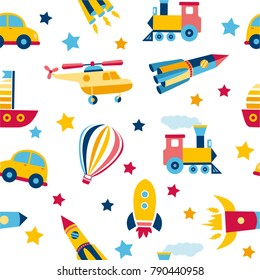 Seamless pattern with colorful transport. Cute children background. Vector pastel. Colorful Illustration. Doodle Style. Set of cartoon transportation.