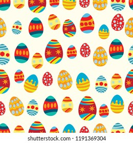 Seamless pattern of colorful vibrant decorated eggs
