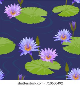 Seamless pattern colorful water lilies flower and leaf on blue background. Vector set of blooming floral for wedding invitations and greeting card design.