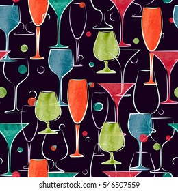 Seamless pattern with colorful watercolor cocktail glasses. Vector background.