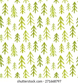 Seamless pattern with colorful watercolor trees. Vector illustration