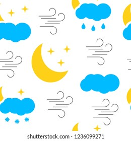 Seamless pattern with colorful weather icons on white background . Vector illustration.