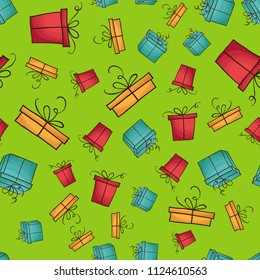 Seamless pattern with colorfull gift boxes. Christmas or Birthda party decoration