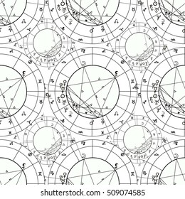 seamless pattern coloring natal astrological chart, zodiac signs. vector illustration