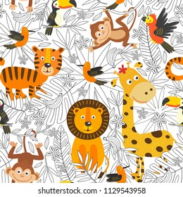 seamless pattern with coloring  tropical animals  -  vector illustration, eps