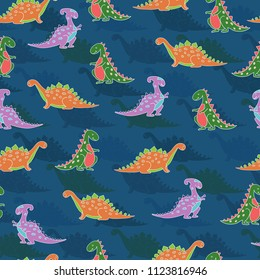 Seamless pattern with colourful cute dinosaurs