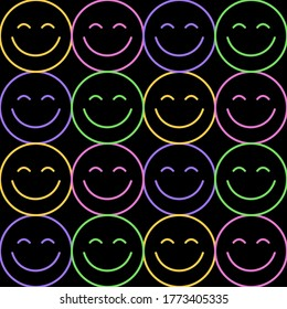 Seamless pattern of Colourful Happy face icon. Smiling Emoticon texture. Smile background. Smile Face icon all over print. Happy Faces. Black backgound.