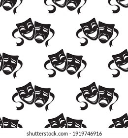 seamless pattern with comedy and tragedy theatrical masks on white background