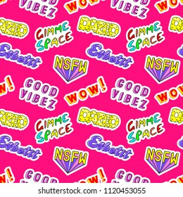 "Seamless pattern with comic book colorful phrases, words: ""Gimme space"", ""Esketit"", ""Dazed"", ""NSFW"", etc. Fashion patches in 80s-90s style. Red background."