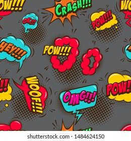 Seamless pattern with comic style speech clouds. Design element for poster, card, banner, t shirt. Vector illustration