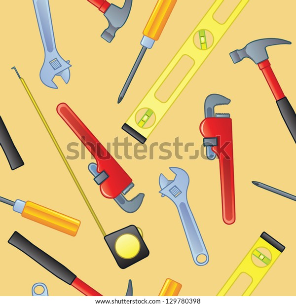 A seamless pattern of common home improvement tools.