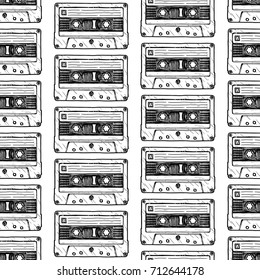 Seamless pattern with Compact Cassette in vintage engraved style on white background.