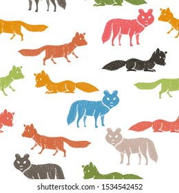 Seamless pattern with companion dogs or wolves or foxes on white background. Backdrop with funny purebred pet animals of various types. Flat cartoon vector illustration for wallpaper, fabric print. Ve