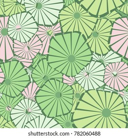 A seamless pattern composed of pentagons divided into asymmetric sectors. Contains six colors.