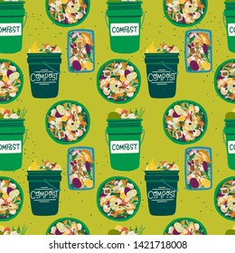 Seamless pattern with compost bins front and top view filled with kitchen scraps. Composting theme backdrop in greens. Organic waste recycle texture with trash buckets and fruit and vegetable peelings