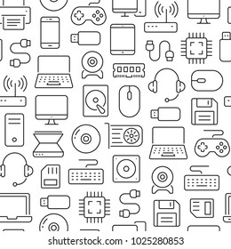Seamless pattern with computers and accessories. Black and white thin line icons