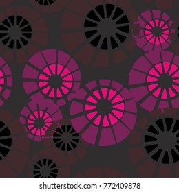 Seamless pattern. Concentric circles are divided into sectors.