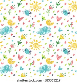 Seamless pattern in the concept of children's drawings. Background with flowers, hearts and birds.