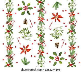 Seamless pattern with cone, fir branches, Holly, poinsettia, caramel cane, mistletoe. Traditional christmas symbols. Vector hand drawing illustration. For festive design, fabrics, Wallpapers