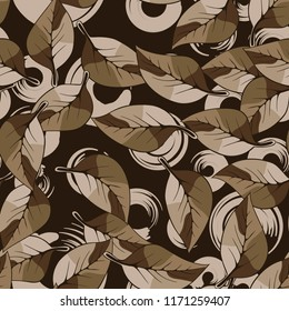 A seamless pattern consisting of autumn foliage, against a background of round strokes.