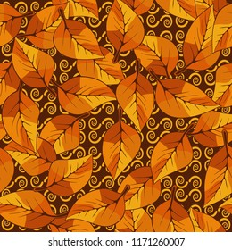 A seamless pattern consisting of autumn foliage, against a background of  texture consisting of curls.