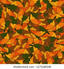 A seamless pattern consisting of autumn foliage. Camouflage.