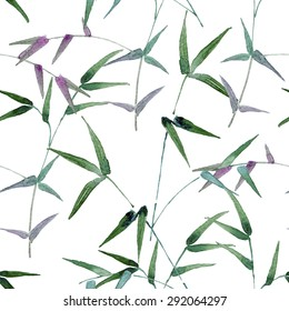 seamless pattern consisting of branches with long, narrow leaves of green and burgundy, watercolor