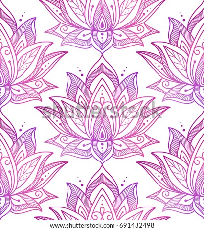 Seamless pattern consisting colorful lotus flowers stock vector seamless pattern consisting of colorful lotus flowers eco style white background vector illustration mightylinksfo