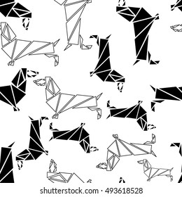 Seamless pattern consisting of a Dachshund dog breed. Pattern in the geometric style of triangles in black and white.