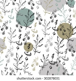 seamless pattern consisting of decorative silhouettes of branches with leaves, berries and inflorescence on the background of colorful circles, graphics