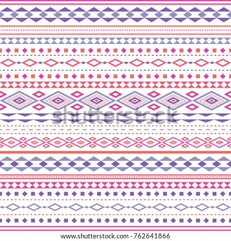 A seamless pattern consisting of different combinations of triangles and rhombuses. Bright color palette with pink and lilac tones.