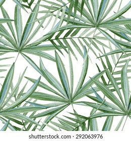 seamless pattern consisting of a large green leaf, watercolor