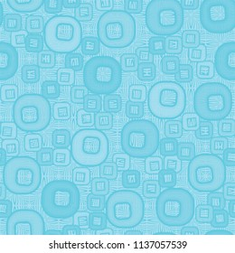A seamless pattern consisting of smoothed squares with a hole, located on a texture background made up of square shaped elements depicted by curved lines.
