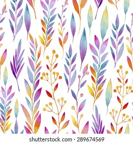 seamless pattern consisting of vines with colorful leaves, vines, stalks with inflorescences watercolor
